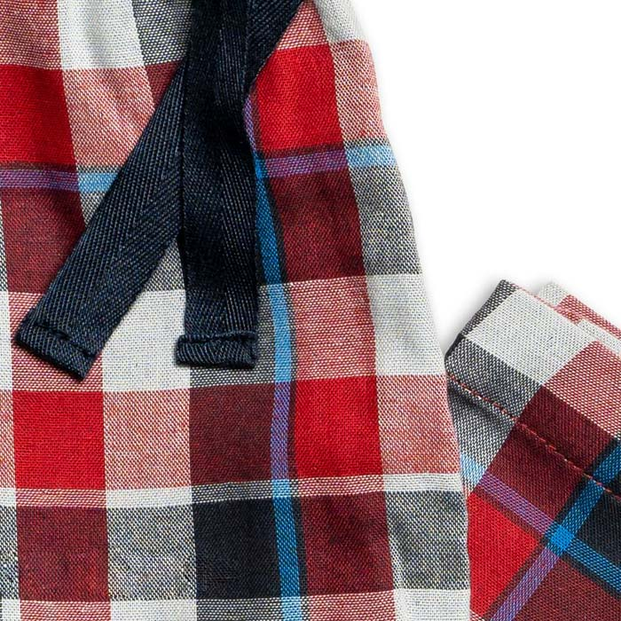 Boys Pj Bottoms - Red And Grey Check Design - Buy Online