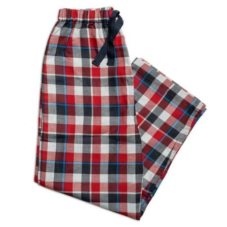 Boys Red And Grey Check Pj Bottoms