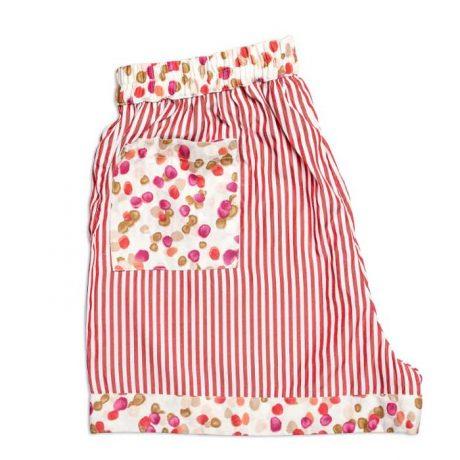 Girls Red Stripes Sleeping Shorts