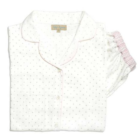 Girls White & Silver Dot Brushed Cotton Pyjamas
