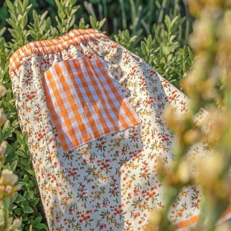 Girls Orange Flower Sleeping Shorts