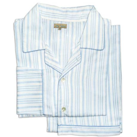 Mens Light Blue Brushed Cotton Stripe Pyjamas