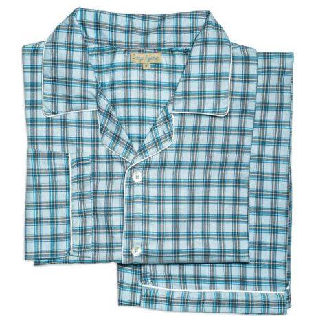Mens Turquoise Check Pyjamas
