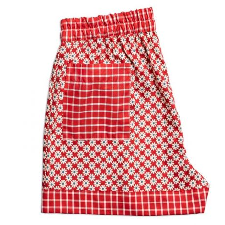 Womens Red Daisies Shorts