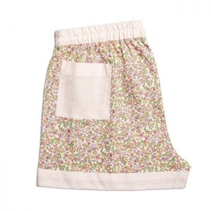 Womens Deep Rose Flower Sleeping Shorts