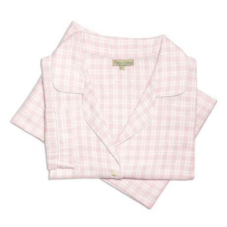 Womens Light Pink Brushed Cotton Pyjamas