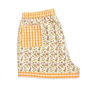 Womens Orange Flower Sleeping Shorts
