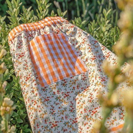 Womens Orange Flower Sleeping Shorts