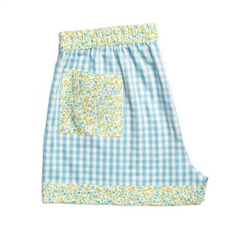 Womens Turquoise Check Shorts